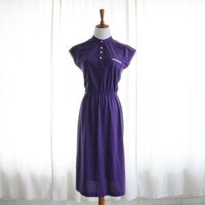 80s Vtg Bodycon Dress Mandarin Collar Purple XS